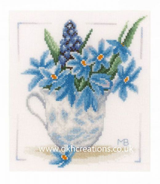Blue Flowers Cross Stitch Kit